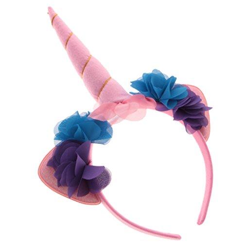 Gazechimp Einhorn Stirnband Horn Haarreif Haarband Kopfschmuck für Halloween Party - Rosa (Einhorn Kostüm Kopfbedeckung)