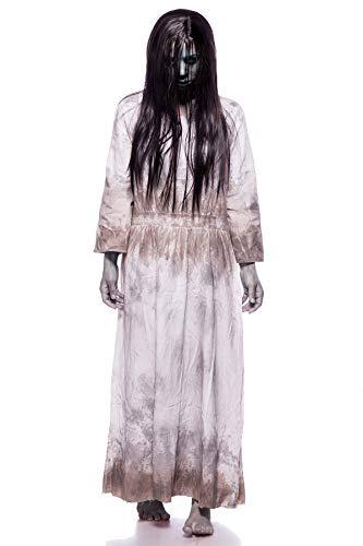 Samara Horror Film Kostüm Damen Halloween Ring TV Set Grau Kleid Perücke 34-46 (Kostüm Horror Halloween)