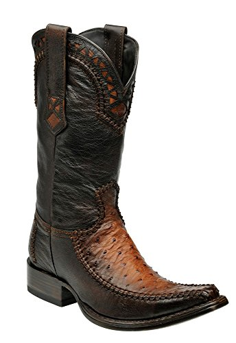 Cuadra Ostrich Leather Cowboy Boots for Men Flame Brandi
