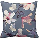 Yaya Cafe Printed Leaf Designs Floral Flower Throw Cushions Pillow Covers 20X20 Inches For Home Decor Sofa Chair Bedroom Living Room - Set Of 1