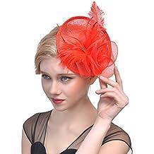 Sombrero de Jugador de Bridal Mesh Yarn Tocado de Plumas Royal Party Costume Headgear (Color