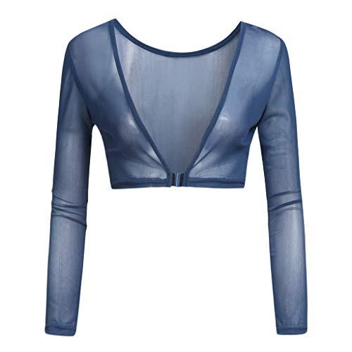 iHENGH Damen Sommer Top Bluse Bequem Lässig Mode T-Shirt Blusen Frauen beide Seiten tragen Schiere Plus Size Nahtlose Arm Former Top Mesh Shirt Blusen(Marine, L)