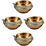 Shri Anand Handmade Indian Puja Brass Oil Lamp - Kuber Diya Lamp Engraved Design Dia - 2.5 Inch(with Free Some Cotton Baati/Wicks) (4)