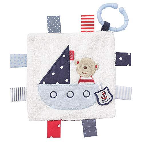 FEHN 078749 Knistertuch Teddy mit Ring / Activity-Rascheltuch zum Aufhängen mit spannenden Strukturen zum Greifen & Geräusche erzeugen - für Babys und Kleinkinder ab 0+ Monaten