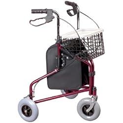 Days,déambulateur 3 roues,cadre en acier léger et pliable,équipé d'un grand panier amovible,freins parking,poignées réglables en hauteur, plateau-tablette, aide à la mobilité,rouge