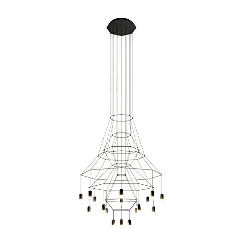 Vibia wireflow Chandelier 0315 Suspension LED, noir RAL 9005 laqué Push cri > 80 2700 K 9805 lm Dali 1-10 V 50-60 Hz H 279 cm Ø 150 cm
