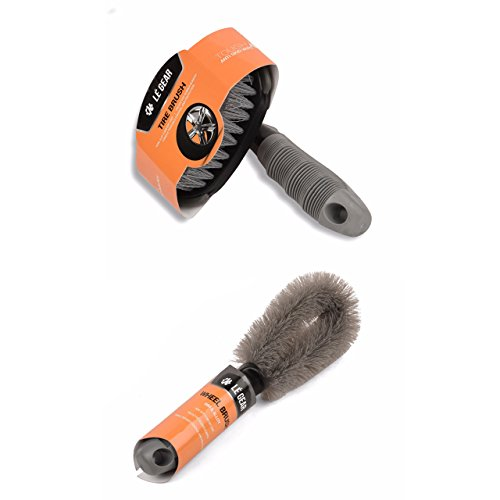 Le Gear Wheel Tyre Brush with Rim Alloy Brush Kit (Grey)