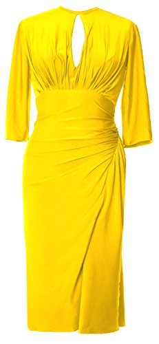 MACloth - Robe - Moulante - Manches Courtes - Femme Jaune