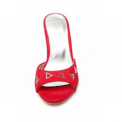 Mee Shoes Damen high heels open toe Nubukleder Pantoletten Rot