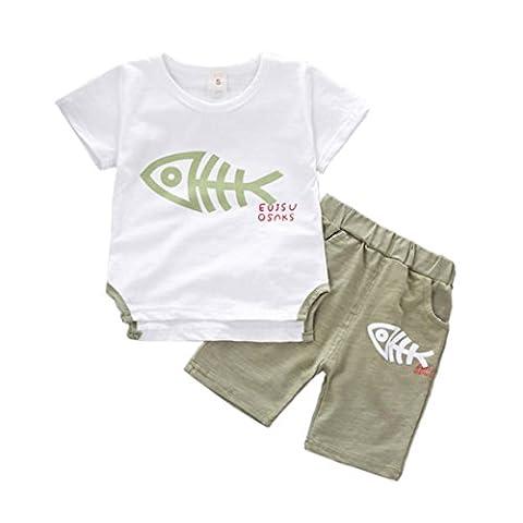 Neugeborene Babys Kleider, Mooney Fisch Knochen Druck Tops T-Shirt Hosen (90, Grün) (Leopard Knochen)