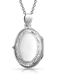 Bling Jewelry Estilo Vintage grabado medallón colgante ovalado en plata esterlina