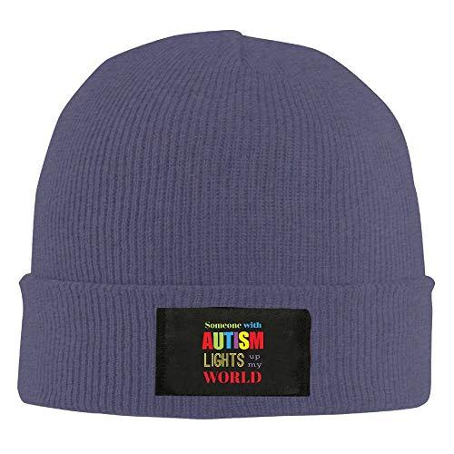 Preisvergleich Produktbild Some with Autism Lights Up My World Unisex Knit Beanie Hat 100% Acrylic Daily Warm Soft Hats Asphalt