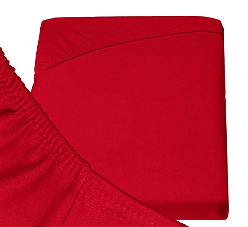 Double Jersey - Spannbettlaken 100% Baumwolle Jersey-Stretch bettlaken, Ultra Weich und Bügelfrei mit bis zu 30cm Stehghöhe, 160x200x30 Rot - 6