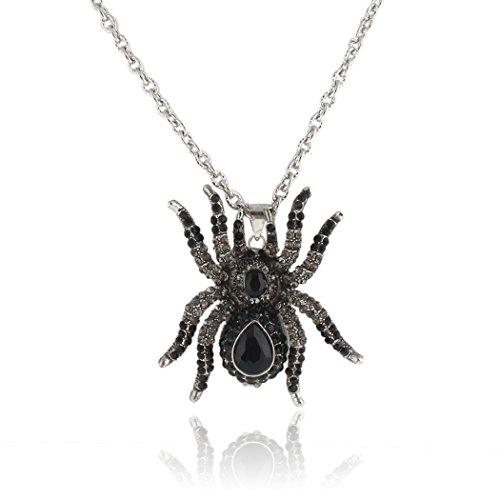 (Flyonce Österreichische Kristall Halloween Spinne Insekt Tier Anhänger Halskette Schwarz Silber-Ton)