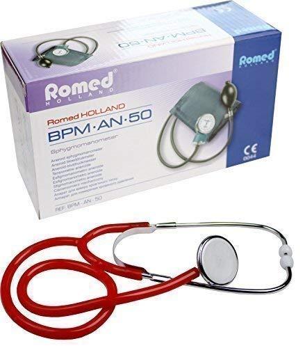 Monitor di pressione sanguigna Nero Aneroide 2-tubo + Stetoscopio Vari Colori dopo A scelta - rosso