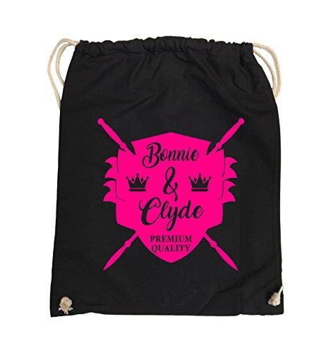 Borse Da Commedia - Bonnie & Clyde Knight - Motivo - Borsa Da Giro - 37x46cm - Colore: Nero / Rosa Nero / Rosa