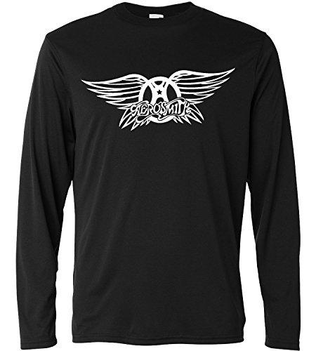 Camiseta de manga larga hombre - Aerosmith Classic Logo - Long Sleeve 100% algondon LaMAGLIERIA, XL, Negro