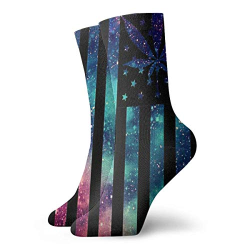 Jxrodekz Novelty Funny Crazy Crew Sock Galaxy American Falg Marijuana Leaf Weed 3D Printed Winter Sport Athletic Socks 30cm Long Personalized Gift Socks