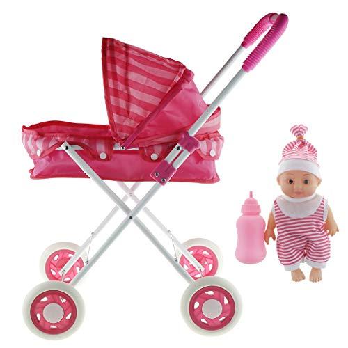 Baoblaze Faltbar Babywagen Kinderwagen mit Babypuppe Spielset Spielzeug Geschenk für Kinder