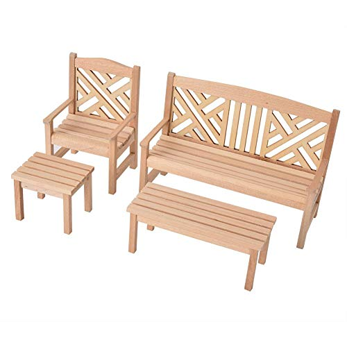 Zerodis 4 STÜCKE Holz Puppenhaus Möbel Garten Stuhl Hocker 1:12 Skala Holz Farbe Puppenhaus Miniatur Tisch Stühle...