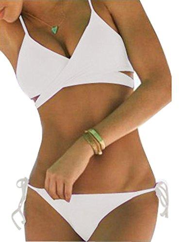 ShallGood Donne Estate Due Pezzi Costumi Da Bagno Collo Halter Bikini Set Triangolo Backless Push-Up Swimwear Beachwear Costume Da Bagno Bianco
