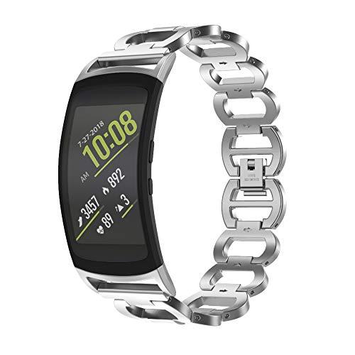 Tosenpo Samsung Gear Fit 2 Armband,Ersatzarmband aus Edelstahl für Samsung Gear Fit 2 SM-R360 / Fit 2 Pro (Silber-)