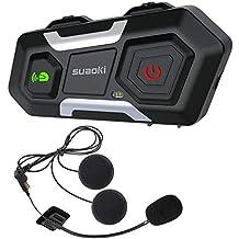 SUAOKI Auriculares Intercomunicador Moto, Bluetooth 3.0, Gama de 1200m, IPX6, Admite hasta