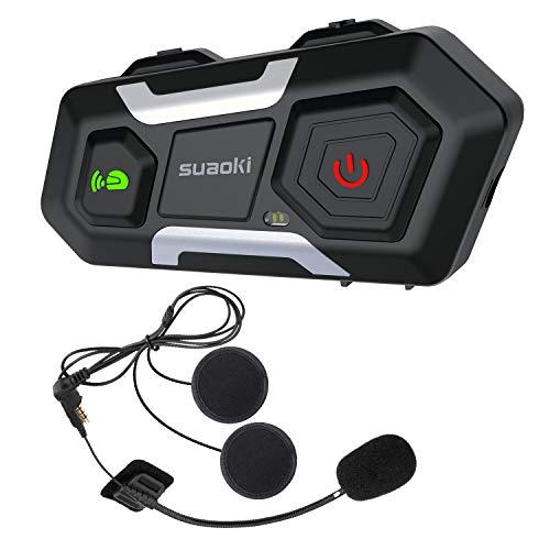 SUAOKI Auriculares Intercomunicador Moto, Bluetooth 3.0, Gama de 1200m, IPX6, Admite hasta...