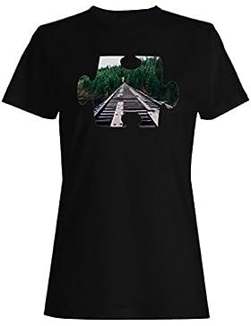 Rompecabezas, tren, primer, punto, perspectiva camiseta de las mujeres e731f