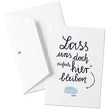 Witzige Grußkarte zu Hochzeit oder Valentinstag - Lass uns doch einfach hier bleiben - Wolke 7 - Originelle Grußkarte auf hochwertigem Büttenpapier mit Umschlag, zum Valentinsgeschenk, Valentinskarte für Verliebte im schönen Kalligrafie Design, Blau Weiß