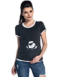 Zeta Ville - T-shirt camiseta premamá - ultrasonido del bebe - para mujer - 054c