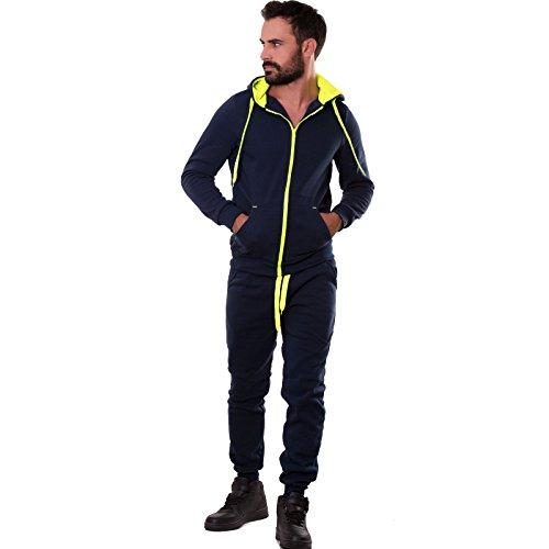 Toocool - Tuta uomo pantaloni felpa cappuccio sport fluo zip cerniera nuova S6607 BLU FELPATO