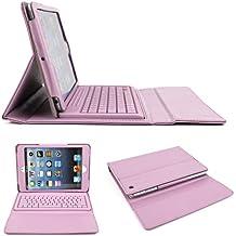Rosa Premium PU–Funda de piel con tapa y función atril con teclado inalámbrico Bluetooth para iPad Mini/Mini 2/iPad Mini con pantalla Retina 2