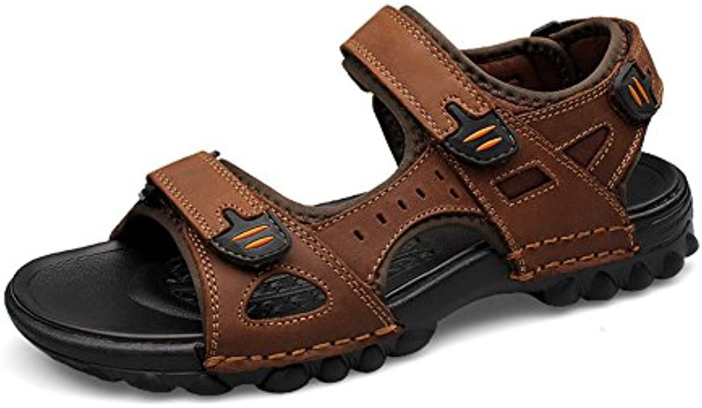 ailishabroy Sommer Sandalen Herren Echtes Leder Outdoor Schuhe 38 EU  Braun