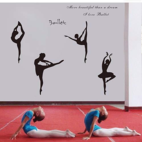 Zjxxm Large Size 150X65CmLove Ballet Dancing Ballet Girls Flats Wall Art Decals Stickers,Ballet Figures Stickers W10087 (Ballet Weiße Flat)
