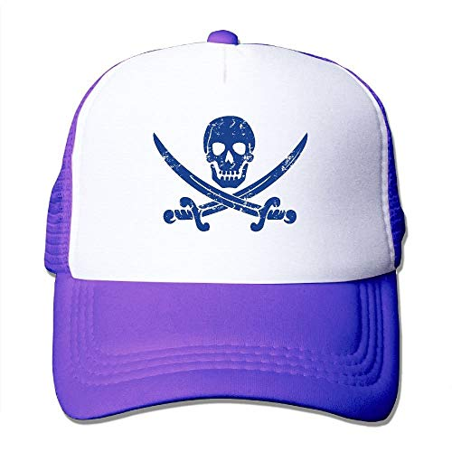 LoveBiuBiu Skull Swords Pirate Youth Mesh Baseball Cap Summer Adjustable Trucker Hat (Cap Blue Newsboy Power)