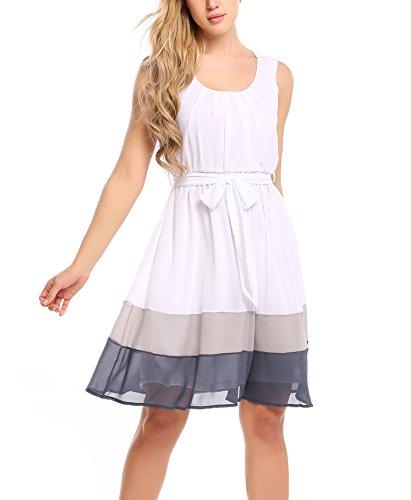 Beyove Kleid Damen Chiffonkleid Elegant Sommerkleid Knielang Cocktailkleid Partykleid...