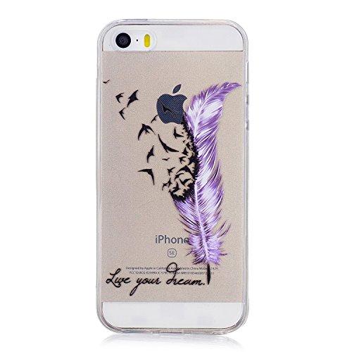 Hülle für Apple iPhone SE 5S / 5 , IJIA Transparent Federn Vogel TPU Weich Silikon Stoßkasten Cover Handyhülle Schutzhülle Handytasche mit 360 Grad Drehung Finger Ring Case Tasche für Apple iPhone SE  FD64