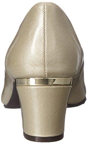 Stile Soft di Hush Puppies pompa Deanna Dress Bone Cross/Hatch Patent/Gold Heel