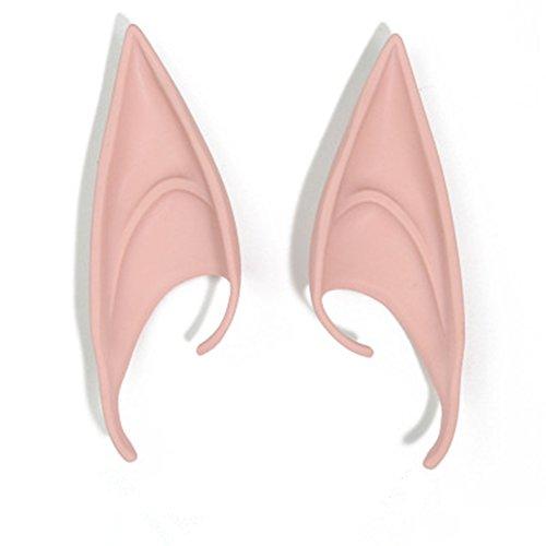Morbuy 1 Paar Elfenohren Spitzohren Latex Cosplay Halloween Karneval Fasching Ohrenprothesen für Erwachsene (Assassins Creed Kostüme Mädchen)