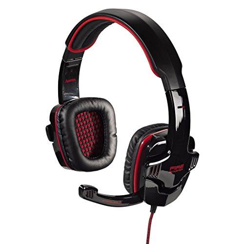 Hama PC Gaming Headset Fire Starter, Stereo, mit Lautstärkeregler und Mute-Taste am Kabel, Kabellänge 2 m, schwarz/rot - - Taste Stereo