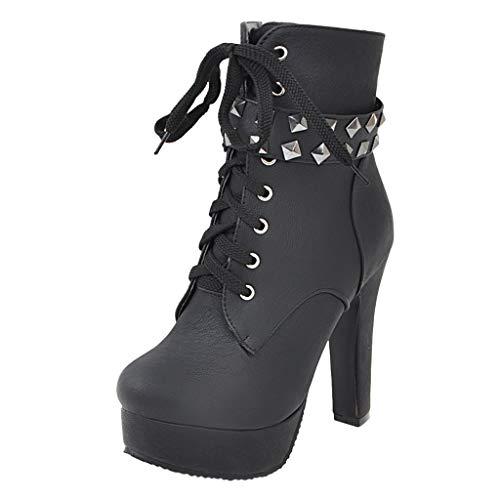 QinMM Booties Winter High Heels, Damen Round Toe Schnürstiefelette Chunky High Heel Platform Knight Stiefel -