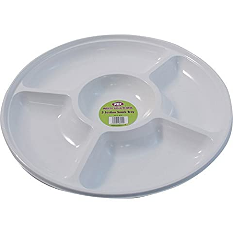1 x WHITE PLASTIC DISPOSABLE COMPARTMENT/PLATTER - 35cm Great for nibbles snacks dips FREE DELIVERY by Party & Paper Solutions