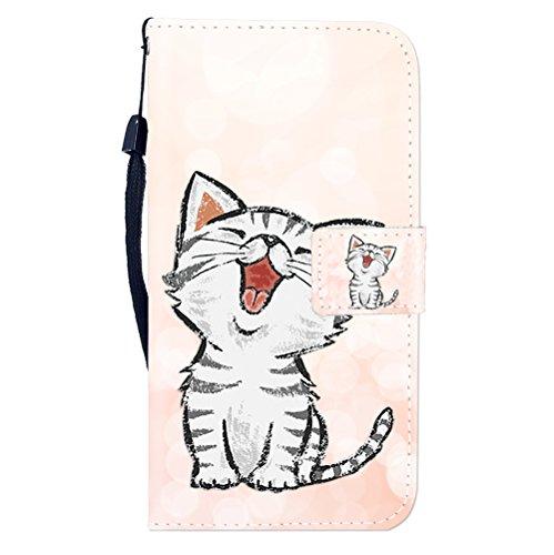 Sunrive Hülle Für WileyFox Spark X, Magnetisch Schaltfläche Ledertasche Schutzhülle Etui Leder Case Cover Handyhülle Tasche Schalen Lederhülle MEHRWEG(W8 Katze 1)