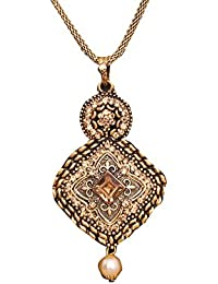 Hermynee Designer Gold Plated Pendant Necklace Set With Chain And Earrings For Girls And Women