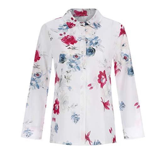 CAOQAO Damen Atmungsaktives Laufshirt Plus Size Lose Print V-Ausschnitt Print Button Bluse Pullover Tops Shirt Lose Mode BeiläUfig Sexy Kurzarm
