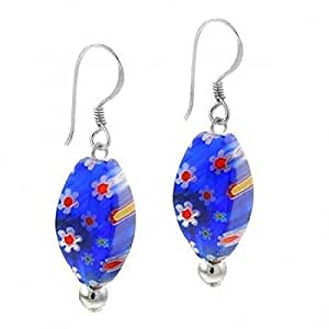 Sterling Silver Dark Blue Murano Glass Oval Bead Millefiori Earrings