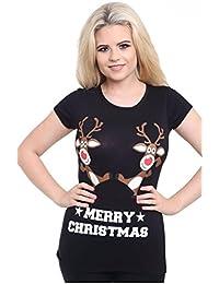 Womens Ladies Christmas Glitter T Shirt Reindeer Santa Snowman Print Xmas Tops