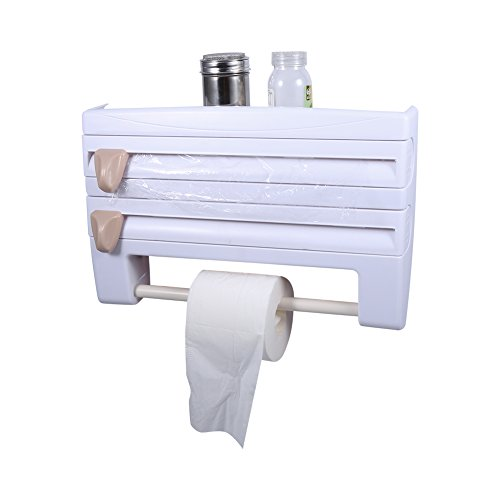 Toalleros de papel TOPINCN Soporte de toalla de papel para montaje en pared Estante de estante de película adhesiva frigorífico con film dispensador de papel Soporte de toalla de papel colgante para a(blanco)