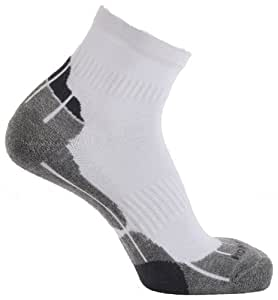 Horizon Technical Sport Quarter Socks - White/Grey/Charcoal, Size 3½-7